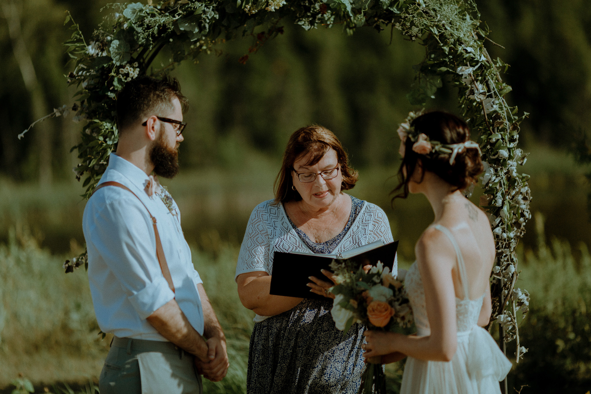 Outdoor Wedding Ceremony at South Pond Farms in Bethany Ontario