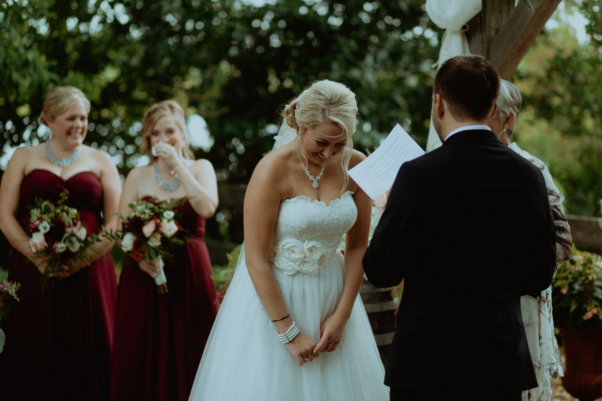 laughing bride wedding vows peterborough photography