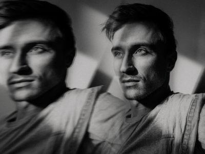 creative unique fine art black and white portrait of male